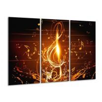 Glas schilderij Muziek | Bruin, Geel, Zwart | 120x80cm 3Luik