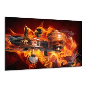 Canvas schilderij Abstract | Rood, Zwart, Geel | 120x70cm 1Luik