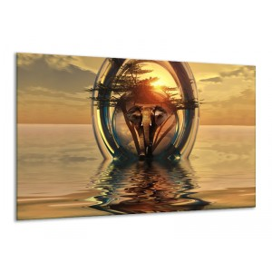 Canvas schilderij Olifant | Goud, Bruin | 120x70cm 1Luik