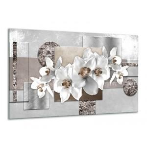 Canvas Schilderij Orchidee, Bloemen | Grijs, Wit | 120x70cm 1Luik