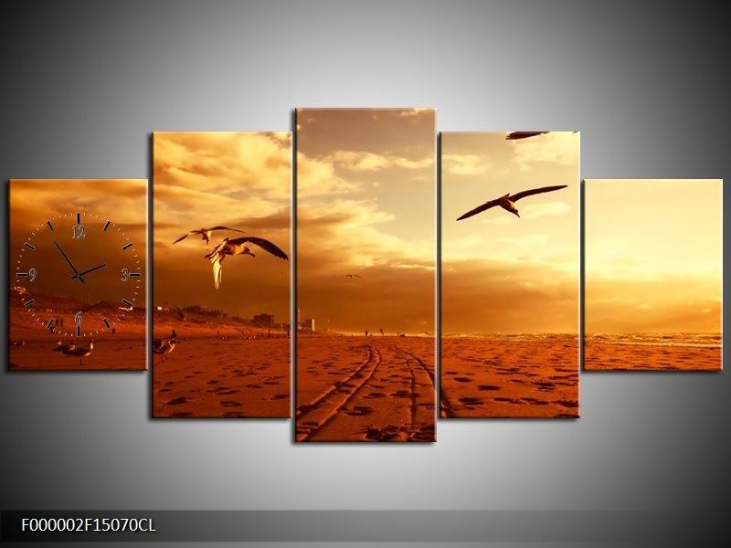 Klok schilderij Vogels   Goud, Geel, Oranje   150x70cm 5Luik