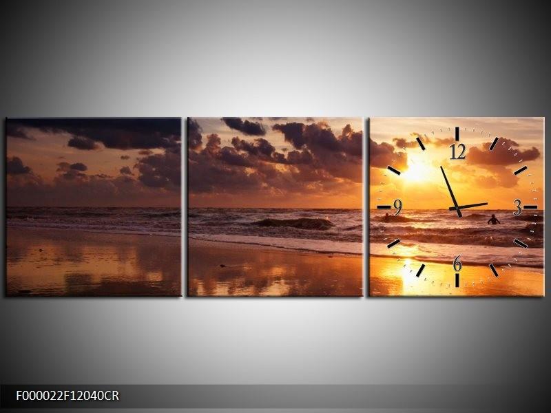Klok schilderij Zee | Geel, Bruin, Paars | 120x40cm 3Luik