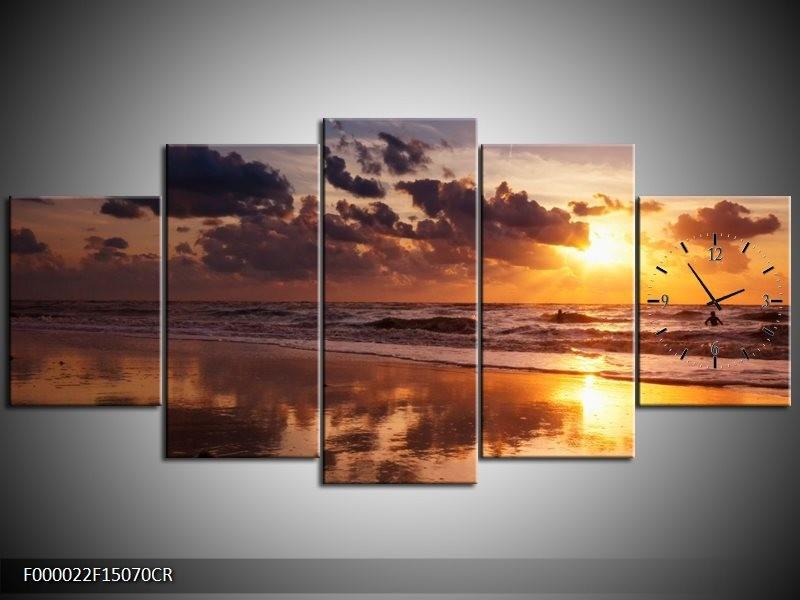 Klok schilderij Zee   Geel, Bruin, Paars   150x70cm 5Luik