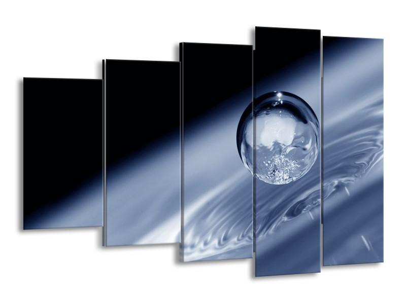 Canvas schilderij Druppel   Grijs, Zwart, Wit   150x100cm 5Luik