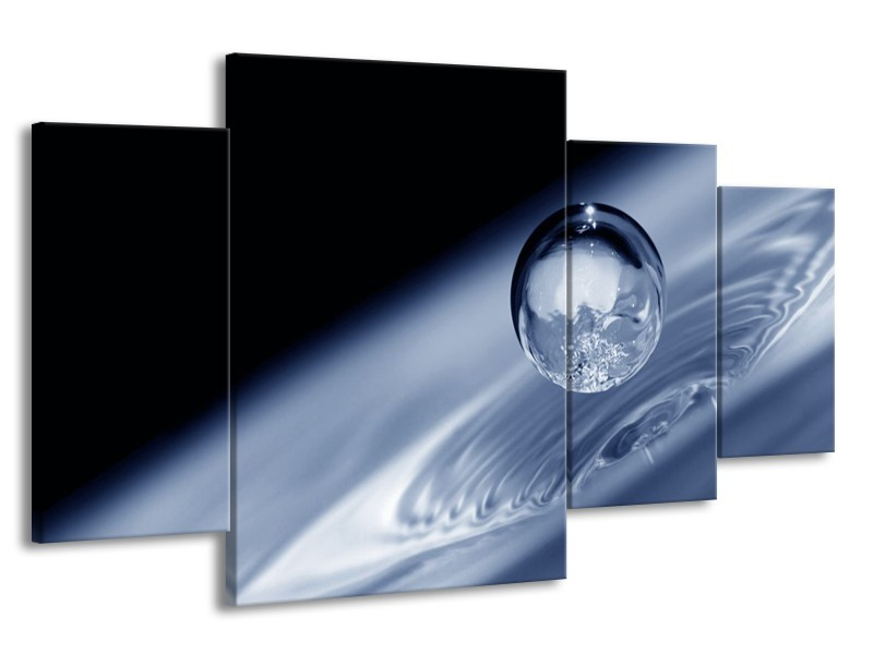 Canvas schilderij Druppel   Grijs, Zwart, Wit   160x90cm 4Luik