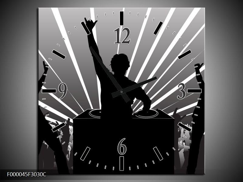 Klok schilderij Muziek | Grijs, Zwart, Wit | 30x30cm 1Luik