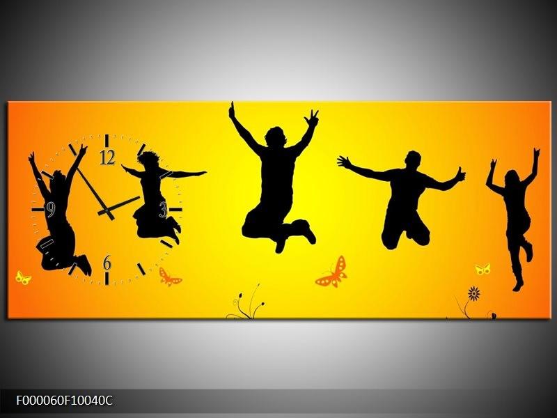 Klok schilderij Dansen | Geel, Zwart, | 100x40cm 1Luik