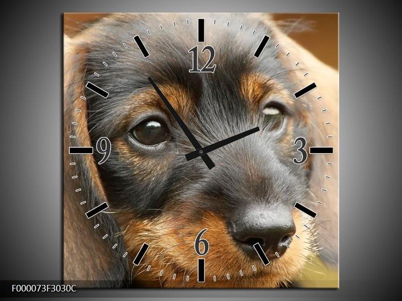 Klok schilderij Hond   Grijs, Zwart, Bruin   30x30cm 1Luik