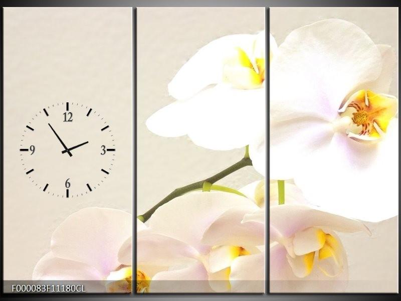 Klok schilderij Orchidee   Crème, Wit, Geel   111x80cm 3Luik