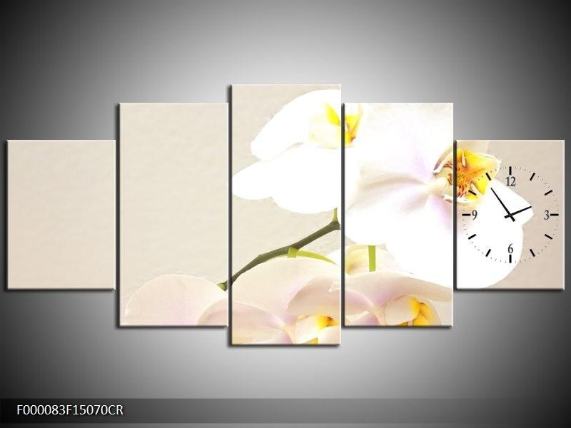 Klok schilderij Orchidee   Crème, Wit, Geel   150x70cm 5Luik