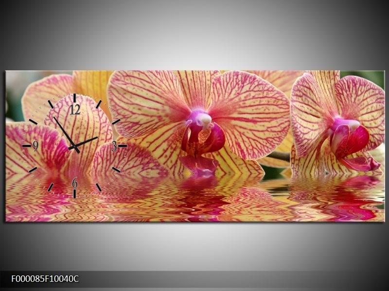Klok schilderij Orchidee   Geel, Rood, Wit   100x40cm 1Luik