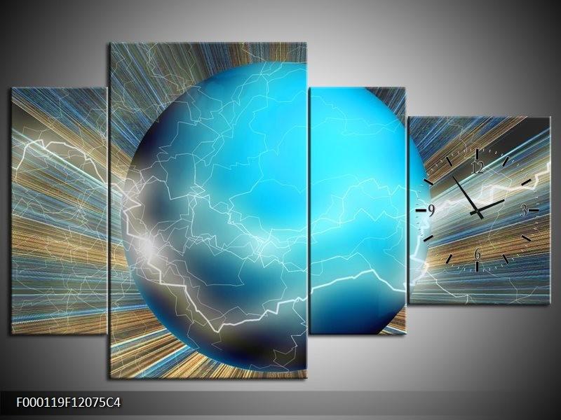 Klok schilderij Design | Blauw, Bruin, Grijs | 120x75cm 4Luik