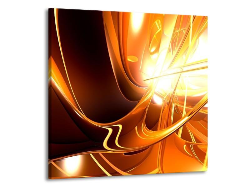 Glas schilderij Abstract | Wit, Bruin, Oranje | 50x50cm 1Luik