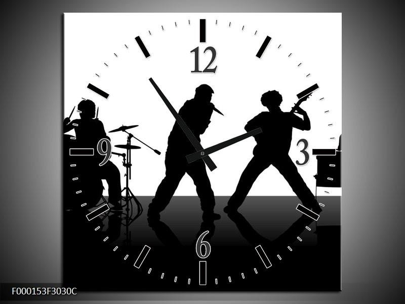 Klok schilderij Muziek | Zwart, Wit, Grijs | 30x30cm 1Luik