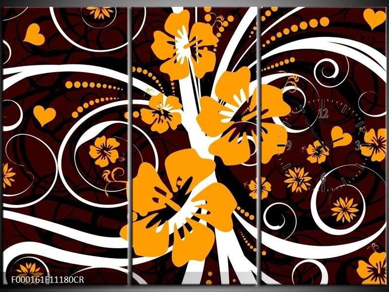 Klok schilderij Abstract   Wit, Oranje, Bruin   111x80cm 3Luik