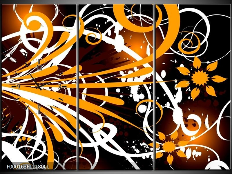 Klok schilderij Abstract   Oranje, Wit, Bruin   111x80cm 3Luik