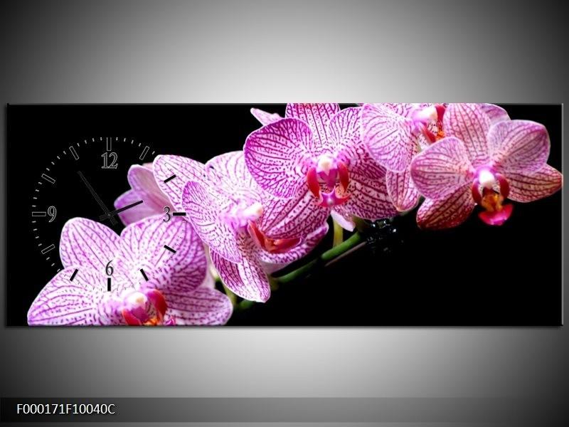 Klok schilderij Orchidee   Paars, Wit, Zwart   100x40cm 1Luik