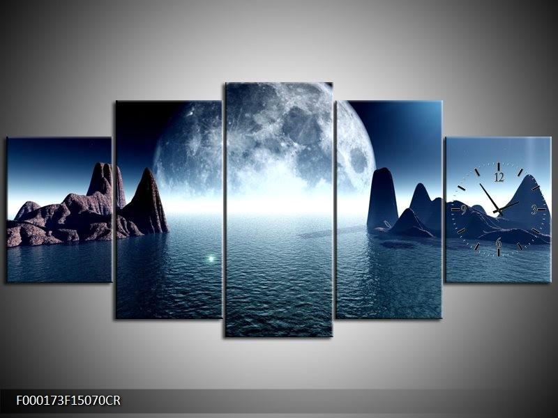 Klok schilderij Maan   Blauw, Wit, Grijs   150x70cm 5Luik