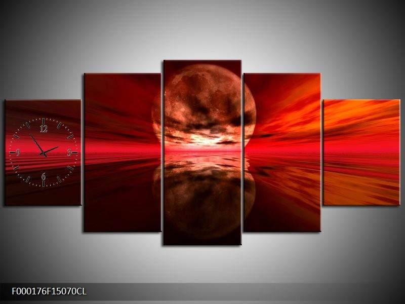 Klok schilderij Maan   Rood, Zwart, Bruin   150x70cm 5Luik