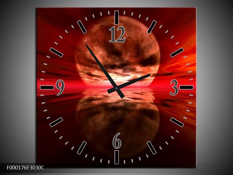 Klok schilderij Maan   Rood, Zwart, Bruin   30x30cm 1Luik