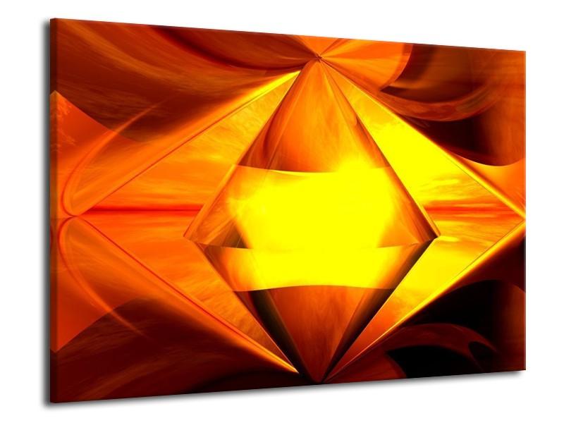 Glas schilderij Abstract | Geel, Oranje, Bruin | 70x50cm 1Luik