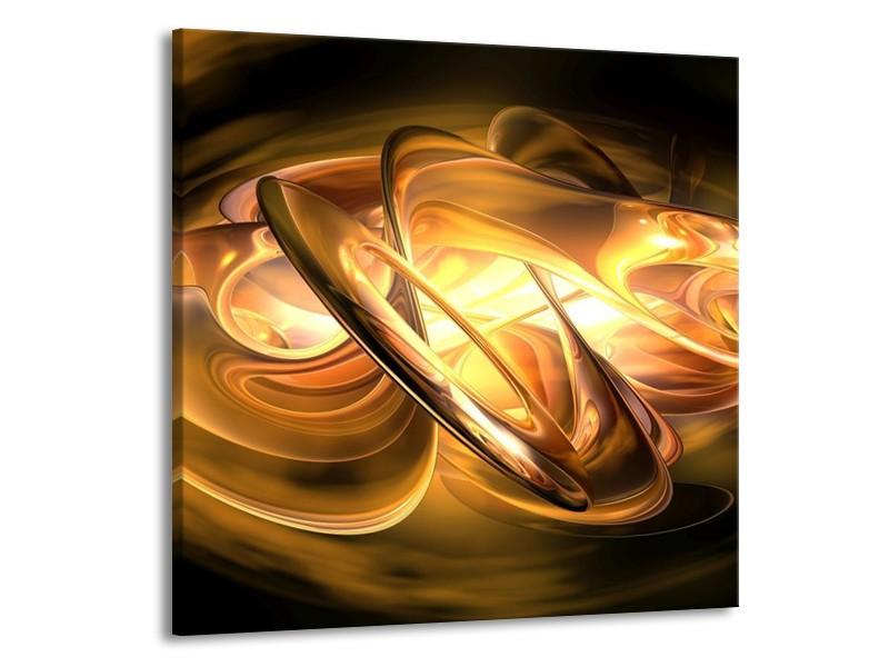 Glas schilderij Abstract | Geel, Oranje, Bruin | 50x50cm 1Luik