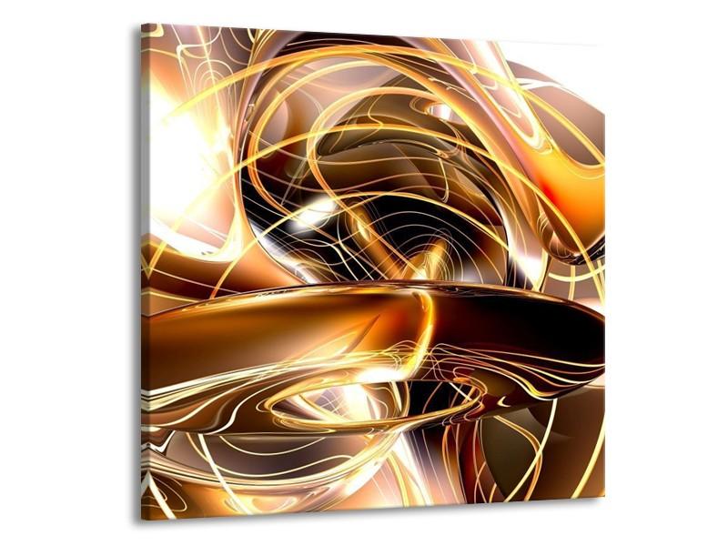 Glas schilderij Abstract | Goud, Geel, Bruin | 50x50cm 1Luik
