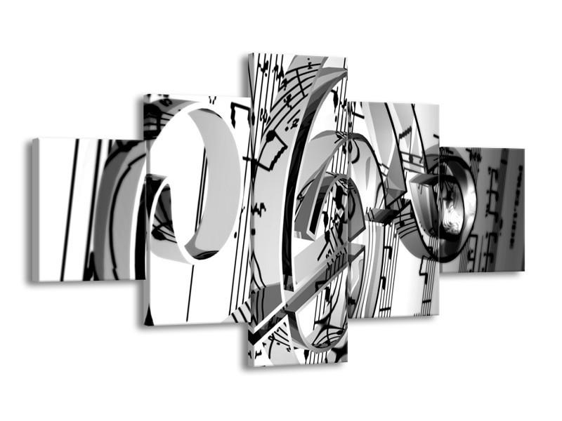 Glas schilderij Muziek   Wit, Grijs, Zwart   125x70cm 5Luik