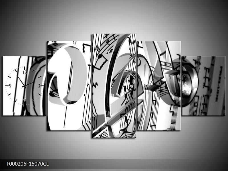 Klok schilderij Muziek | Wit, Grijs, Zwart | 150x70cm 5Luik