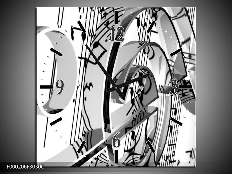 Klok schilderij Muziek | Wit, Grijs, Zwart | 30x30cm 1Luik