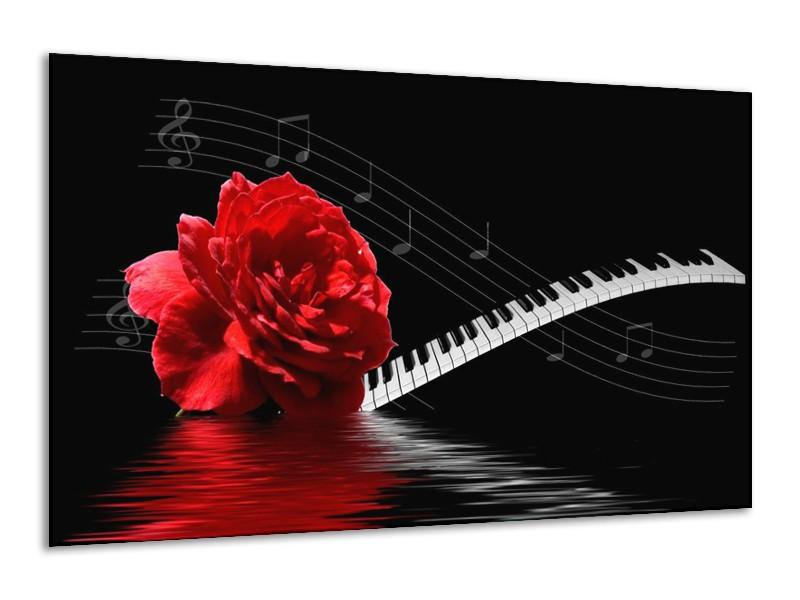 Canvas schilderij Roos | Rood, Wit, Zwart | 120x70cm 1Luik
