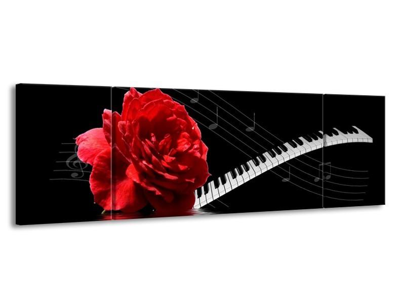 Glas schilderij Roos | Rood, Wit, Zwart | 170x50cm 3Luik