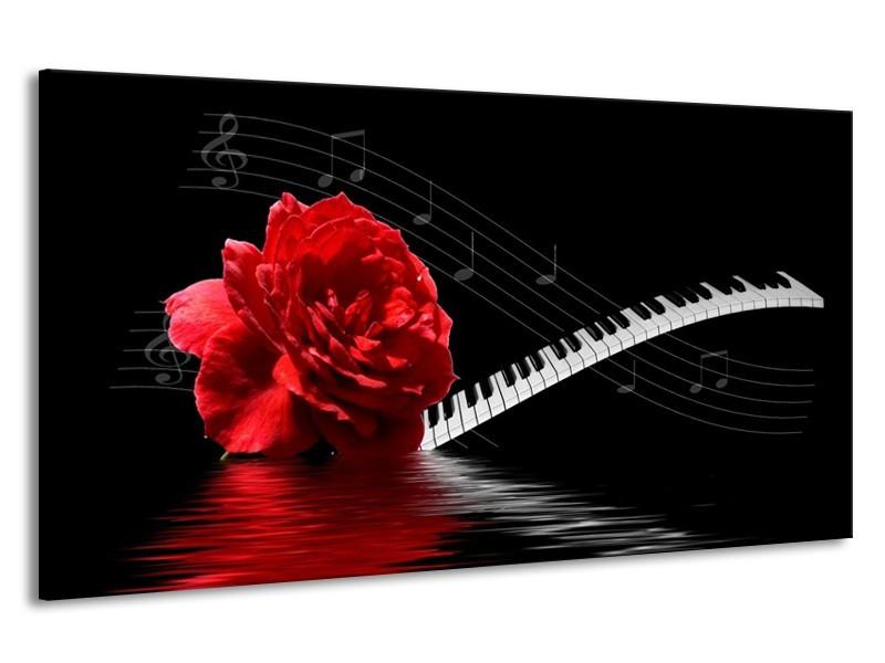 Canvas schilderij Roos | Rood, Wit, Zwart | 190x100cm 1Luik