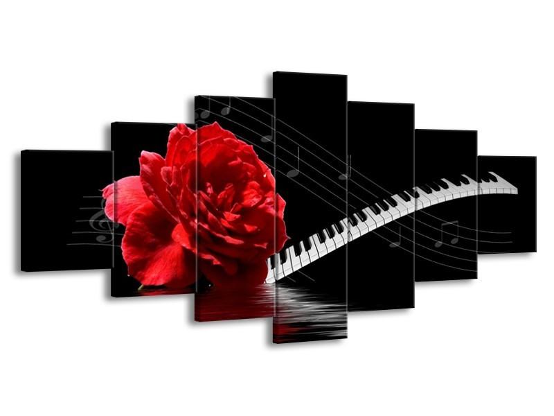 Canvas schilderij Roos | Rood, Wit, Zwart | 210x100cm 7Luik