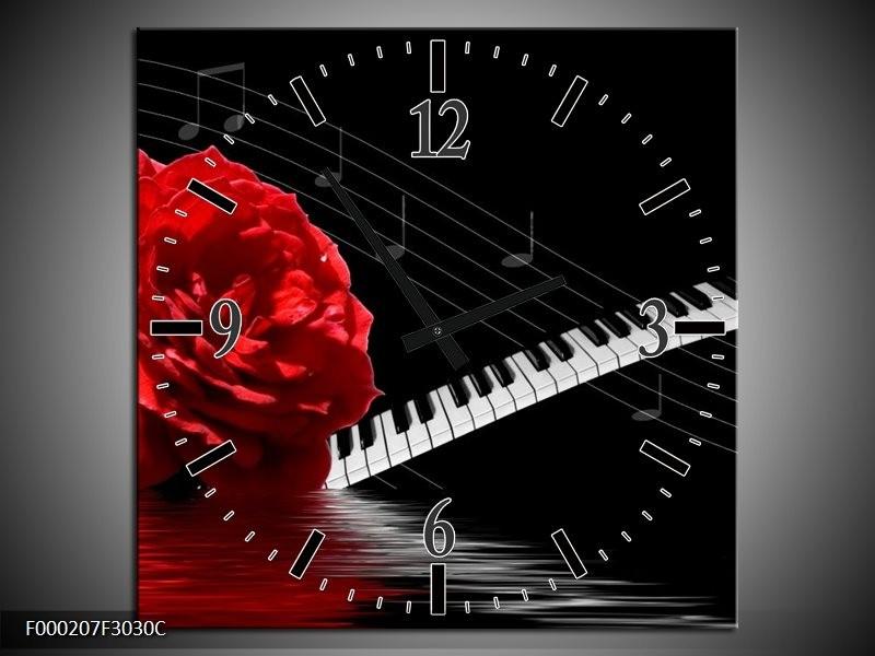 Klok schilderij Roos | Rood, Wit, Zwart | 30x30cm 1Luik
