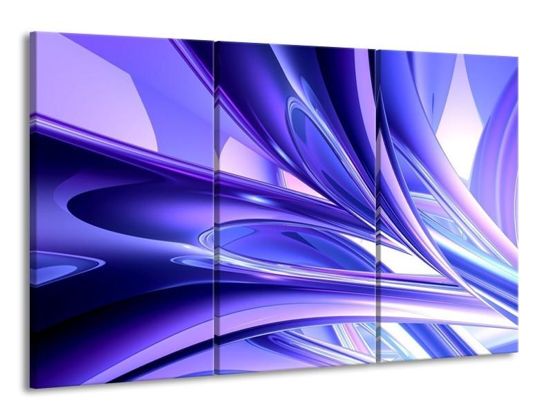 Glas schilderij Abstract | Blauw, Wit, Paars | 165x100cm 3Luik
