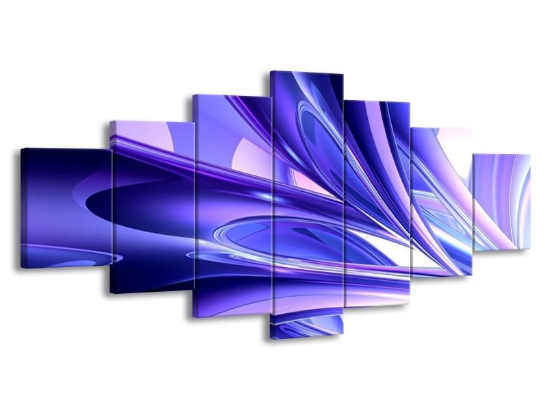 Glas schilderij Abstract | Blauw, Wit, Paars | 210x100cm 7Luik
