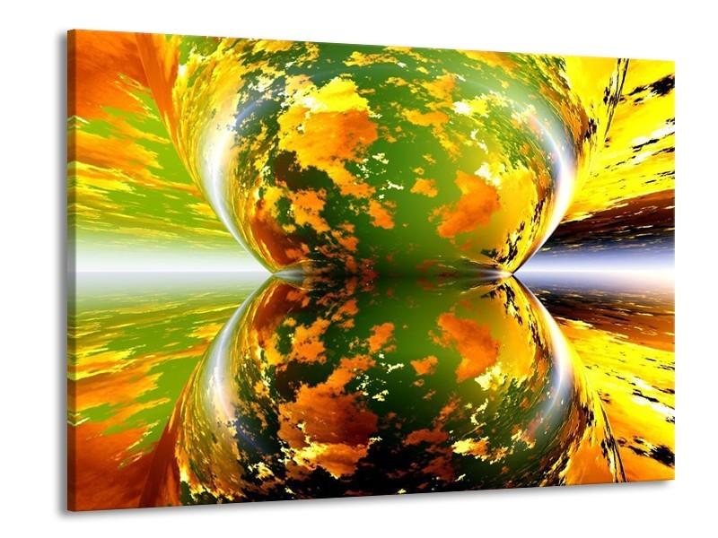 Canvas schilderij Spiegel | Groen, Geel, Oranje | 100x70cm 1Luik