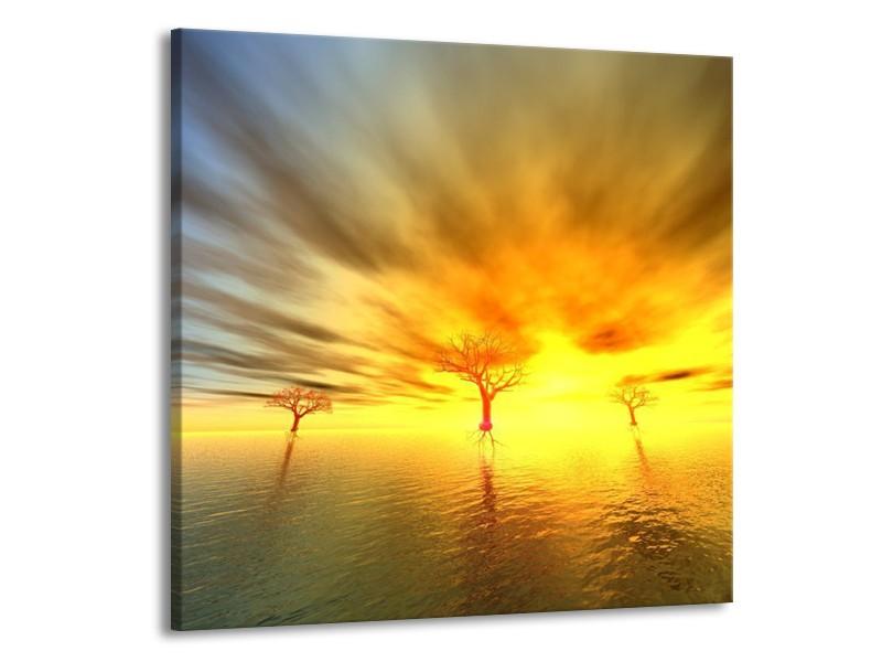 Canvas schilderij Abstract   Geel, Grijs, Bruin   50x50cm 1Luik