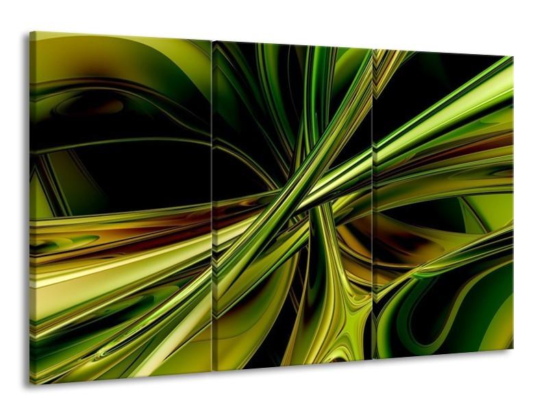 Glas schilderij Abstract | Groen, Zwart, Geel | 165x100cm 3Luik