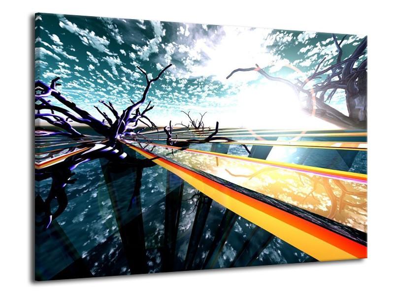 Canvas schilderij Abstract   Geel, Blauw, Zwart   70x50cm 1Luik