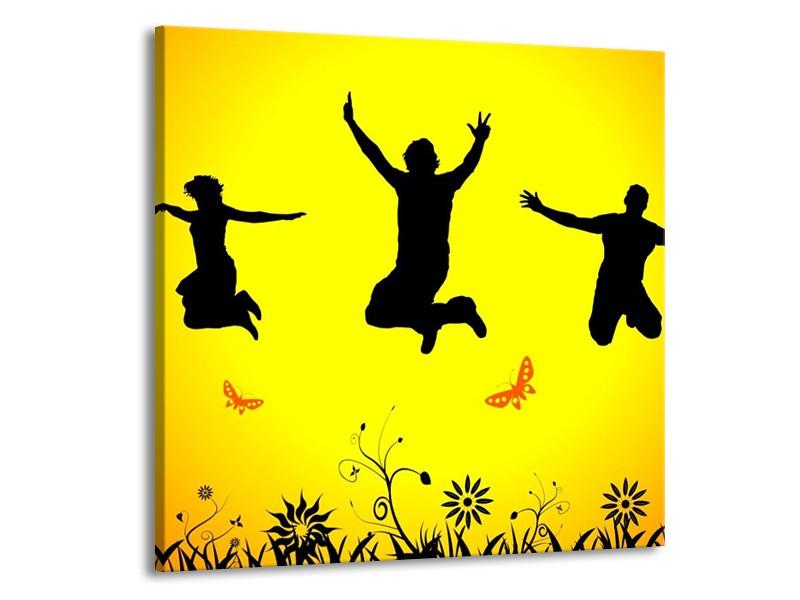 Canvas schilderij Dansen   Geel, Zwart, Oranje   70x70cm 1Luik