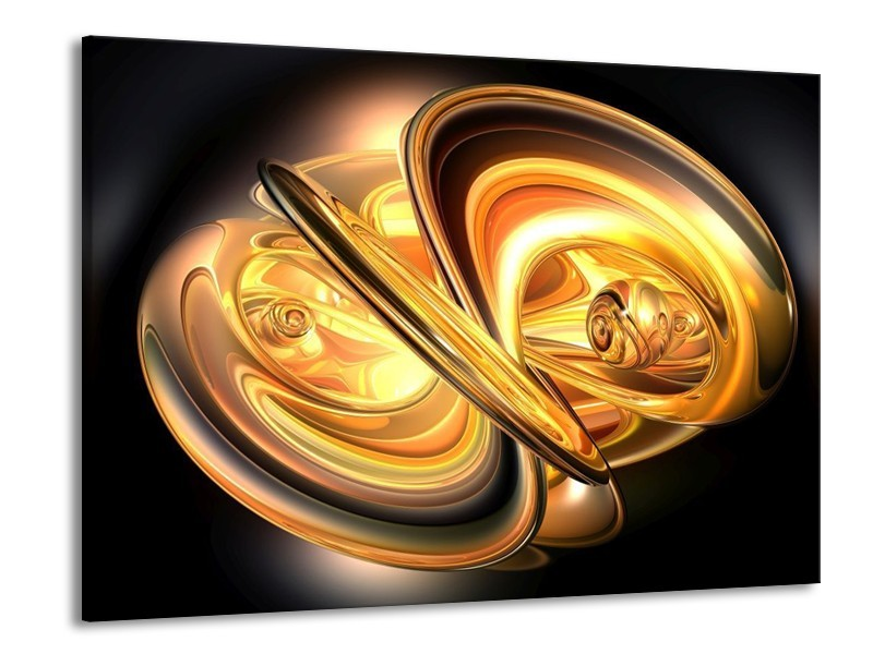 Canvas schilderij Abstract   Goud, Geel, Zwart   100x70cm 1Luik