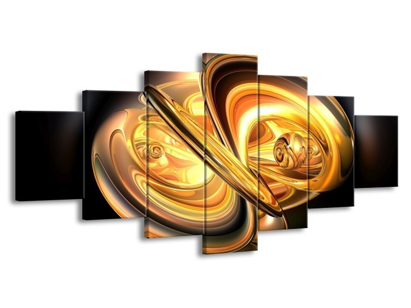 Glas schilderij Abstract   Goud, Geel, Zwart   210x100cm 7Luik