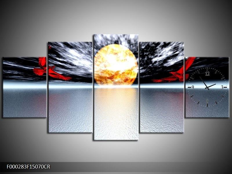 Klok schilderij Maan   Grijs, Rood, Geel   150x70cm 5Luik