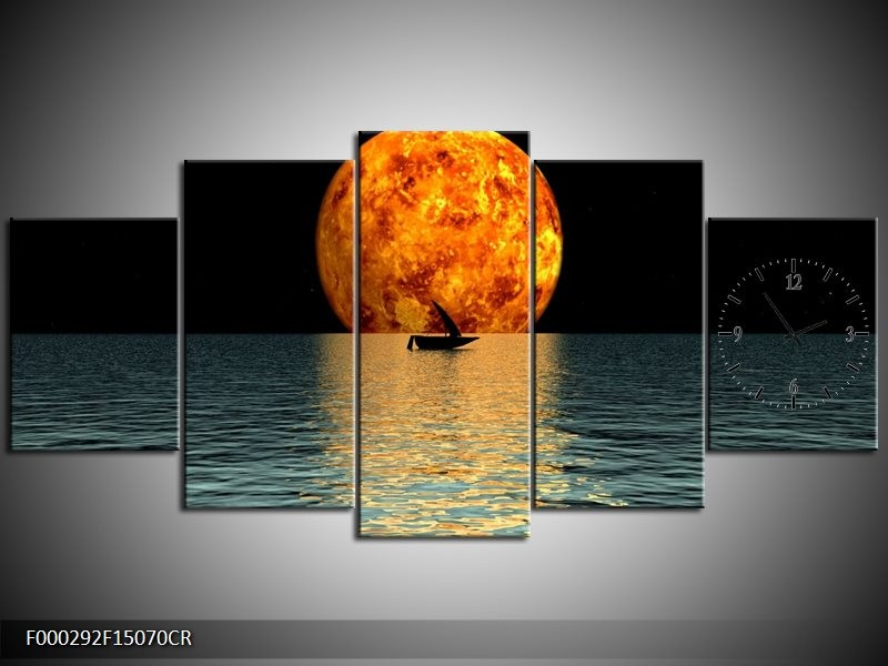 Klok schilderij Maan   Oranje, Blauw, Zwart   150x70cm 5Luik