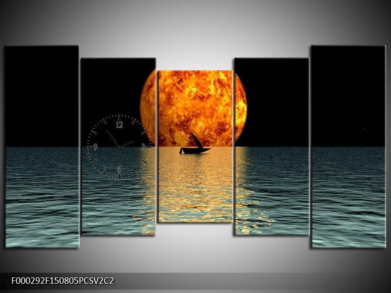 Klok schilderij Maan | Oranje, Blauw, Zwart | 150x80cm 5Luik