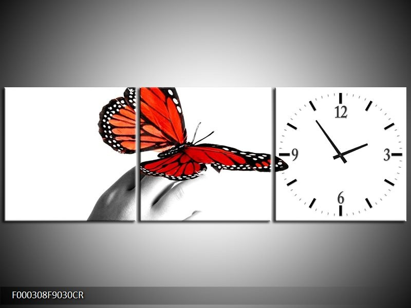 Klok schilderij Vlinder | Rood, Wit, Zwart | 90x30cm 3Luik