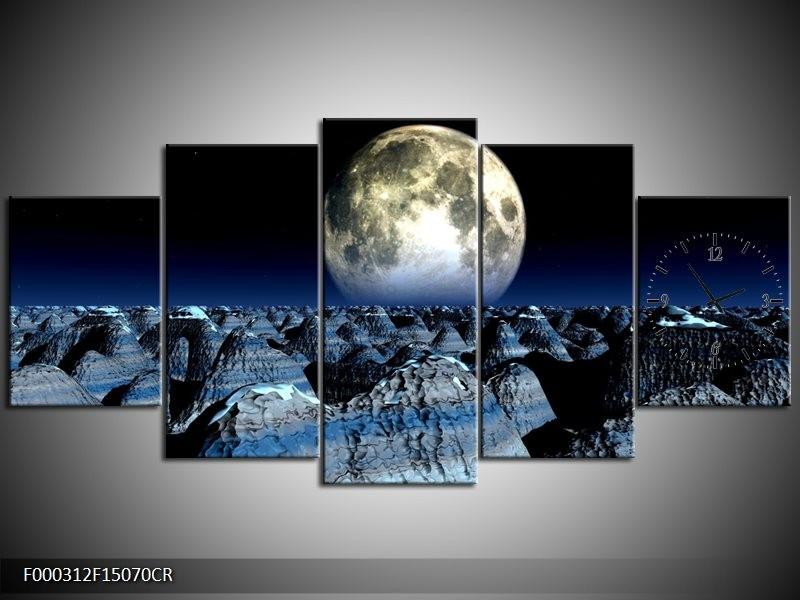 Klok schilderij Maan   Blauw, Grijs, Wit   150x70cm 5Luik