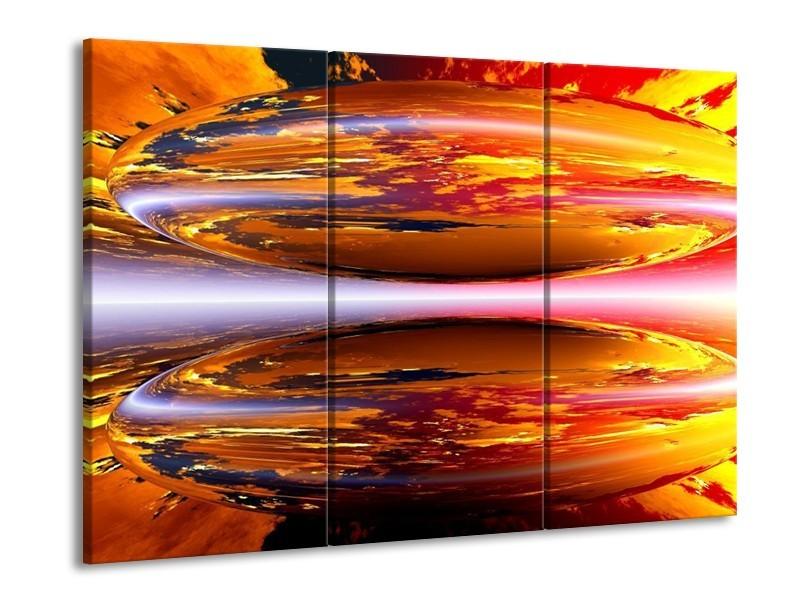 Glas schilderij Abstract | Geel, Oranje, Rood | 90x60cm 3Luik